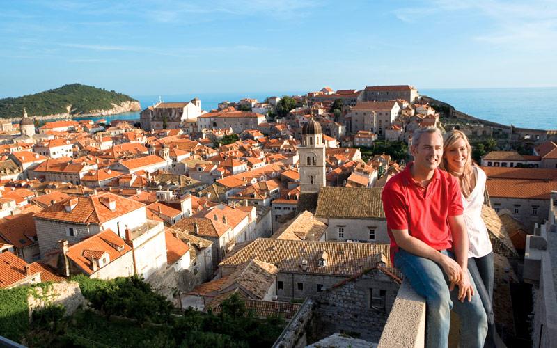 Couple sightseeing in Croatia