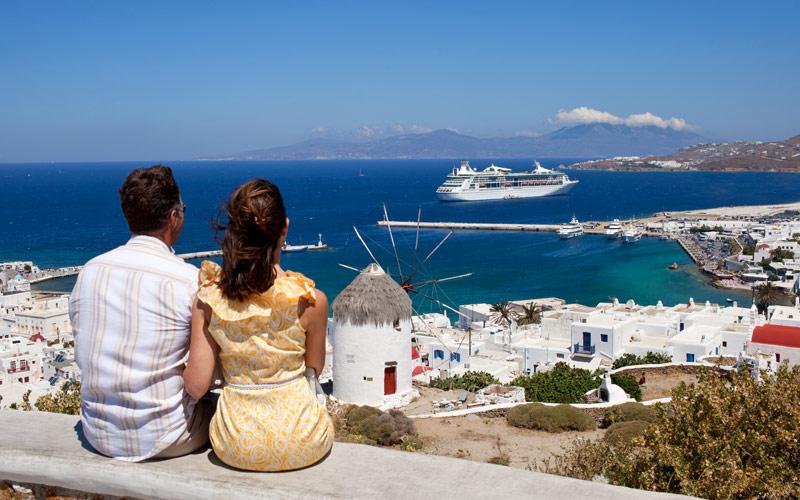 Couple on a hill in Mykonos, Greece