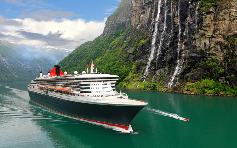 Cunard liner navigating the Norwegian Fjords