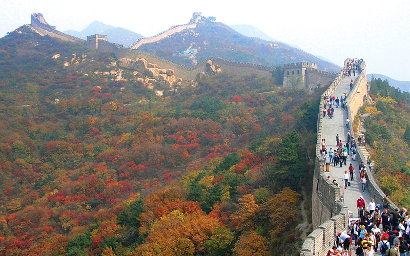 Great Wall of China with fall foliage