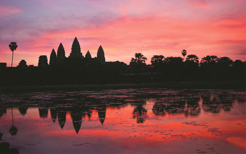 Angkor Wat, Cambodia at sunset