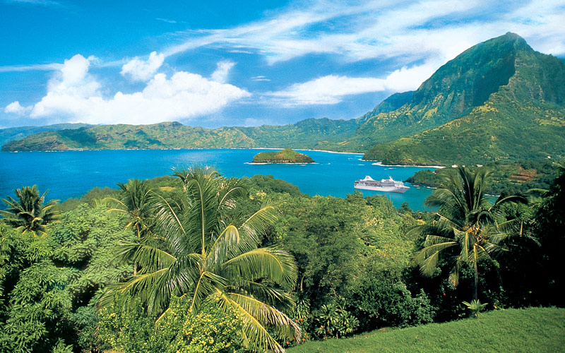 View of Hiva Oa on Marquesas Island