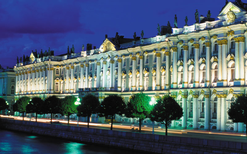 Hermitage museum at night St. Petersburg