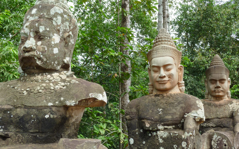 Angkor Thom statues in Cambodia