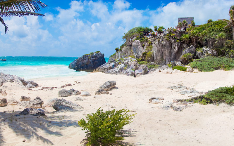 Landscape of Tulum Beach in Mexico