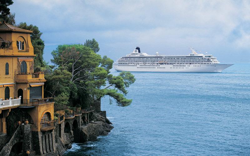 Crystal Cruises off coast of Portofino, Italy