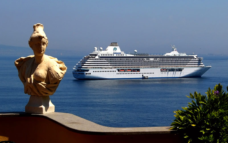 Crystal Cruises off the coast of Sorrento, Italy