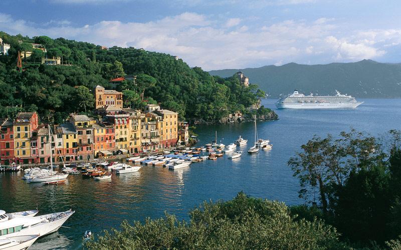 Crystal Symphony cruises through Portofino, Italy