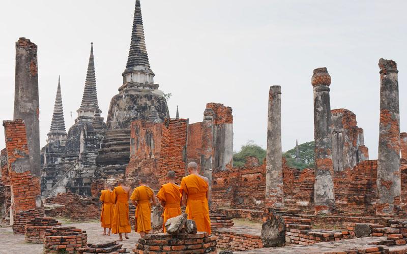 Buddhist monks worship in Cambodia