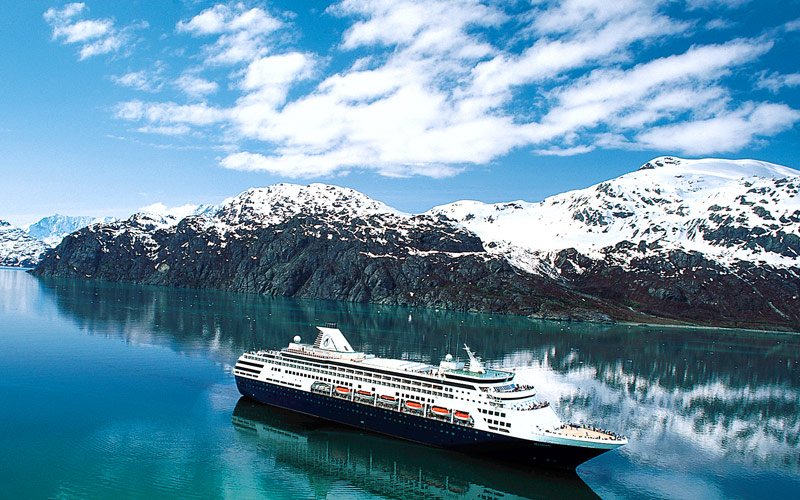 Holland America ship cruises through the glaciers