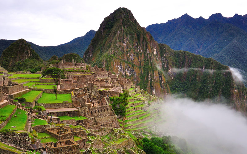 Landscape view of Machu Picchu in Peru