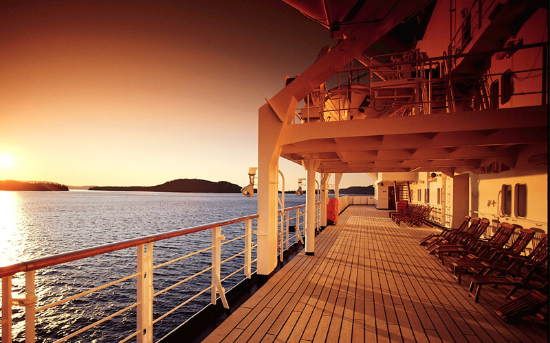 Sunset over the open deck