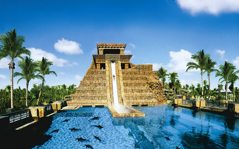 Mayan water slide in Nassau