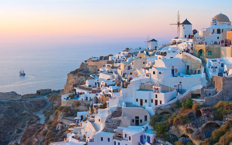 The Santorini hillside in Greece