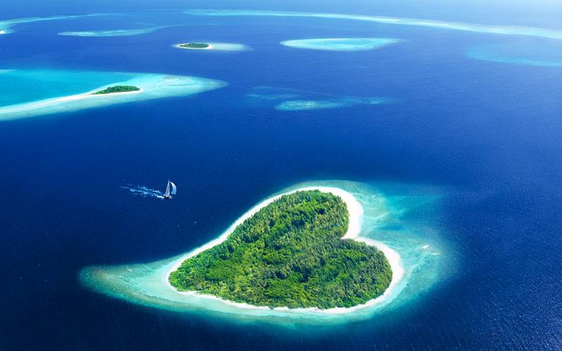 Maldivian Island in the shape of a heart