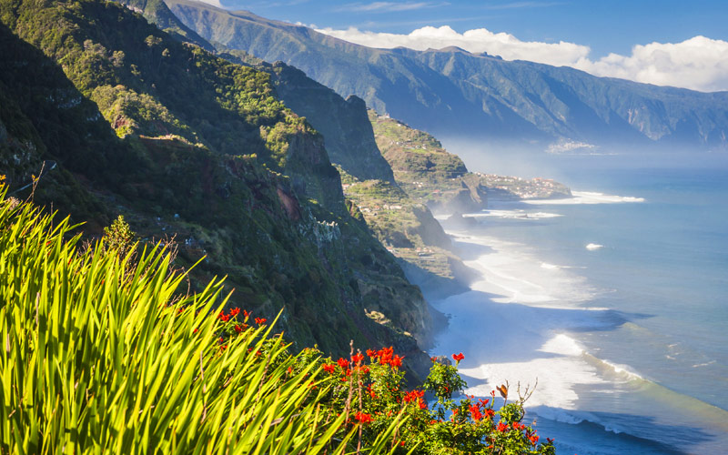 Mountains and Ocean on Northern Coast of Madeira