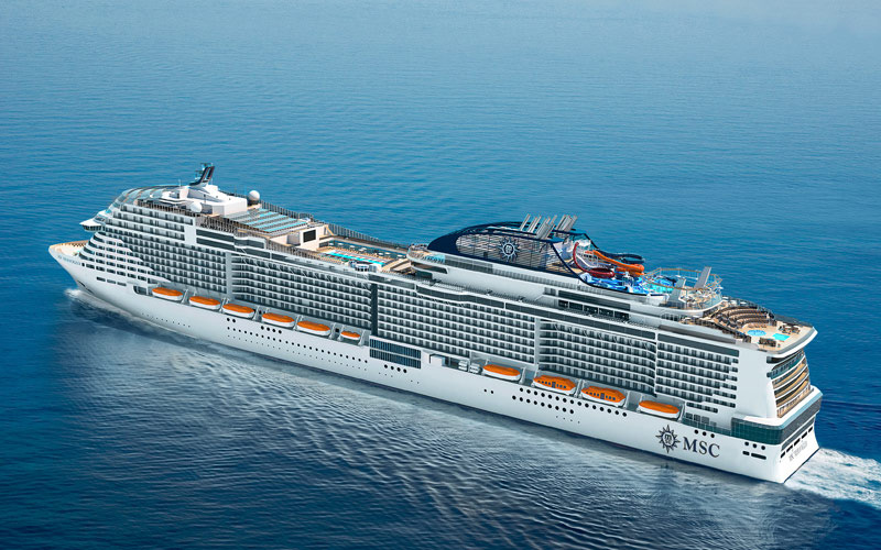 Aerial view of MSC Bellissima