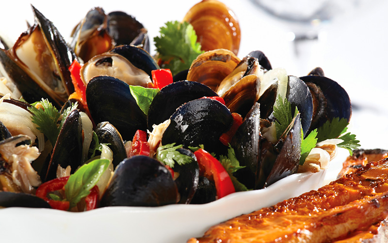 US Pacific Coast mussels seafood Norwegian Cruise
