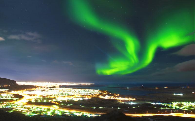 Northern Lights above Reykjavik Norwegian Cruise