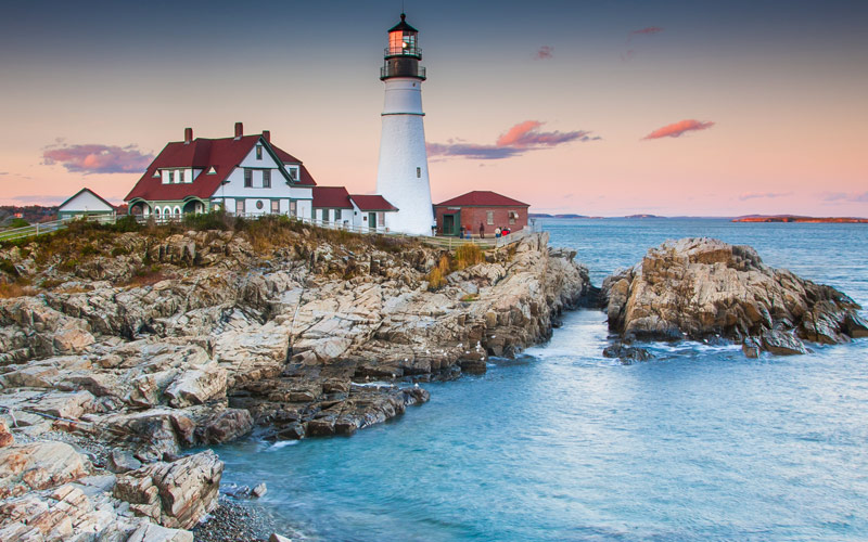 Portland Lighthouse in the evening Maine
