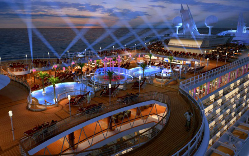 Princess Cruises Regal Princess Top deck at night