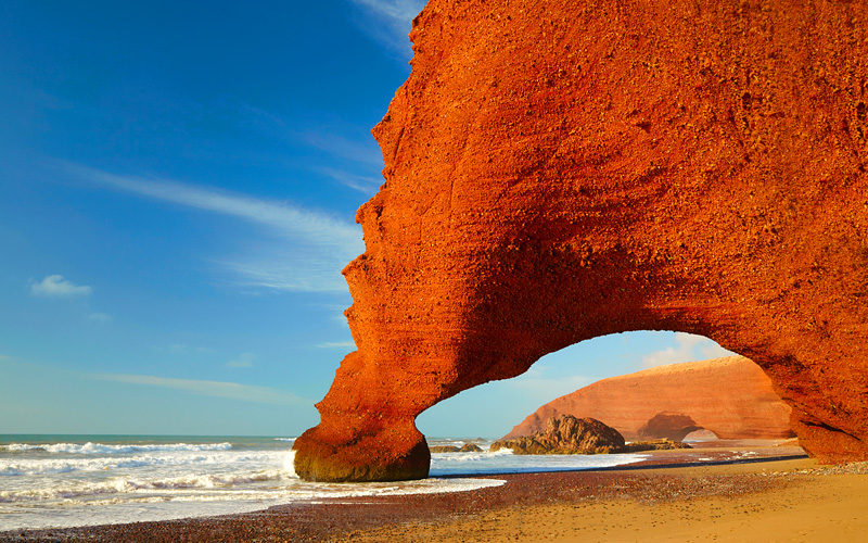 Red Arches on Atlantic Ocean Coast Morocco