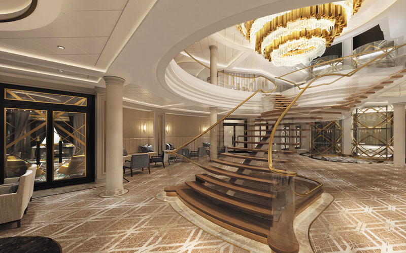Atrium aboard Seven Seas Splendor