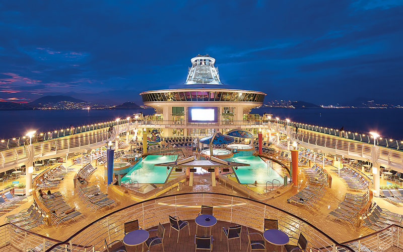 Royal Caribbean Mariner of the Seas Deck at night