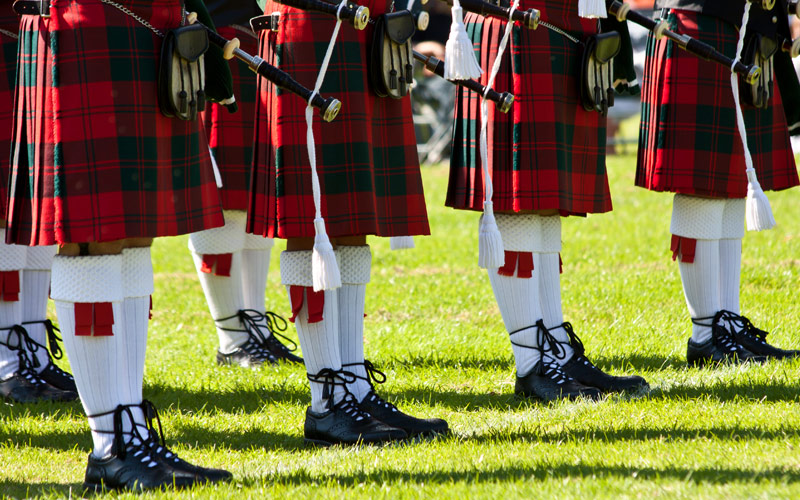 Scottish kilts during Highland Games