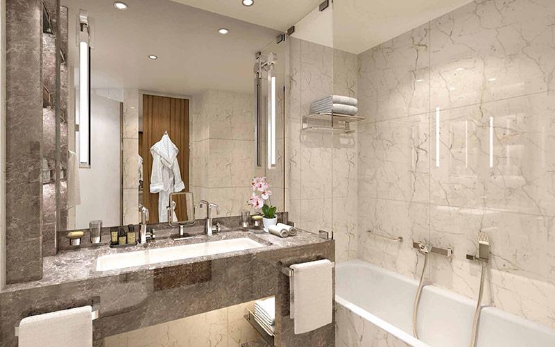 Suite bathroom aboard Seabourn Venture