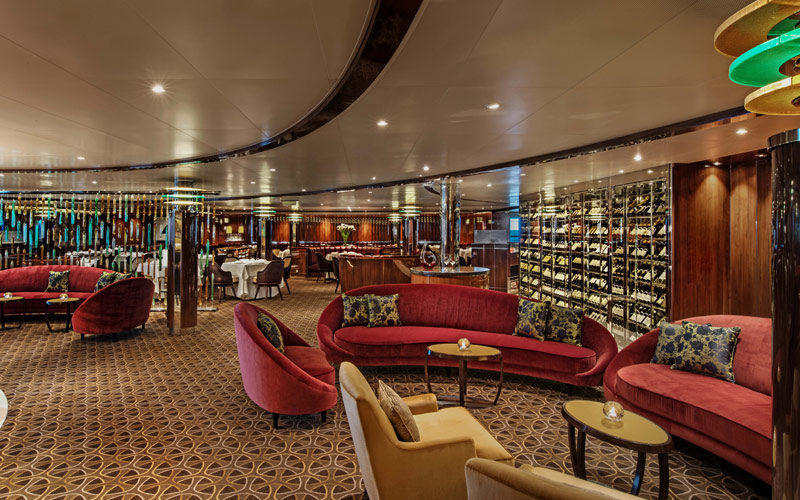 Wine and lounge aboard Seabourn Ovation