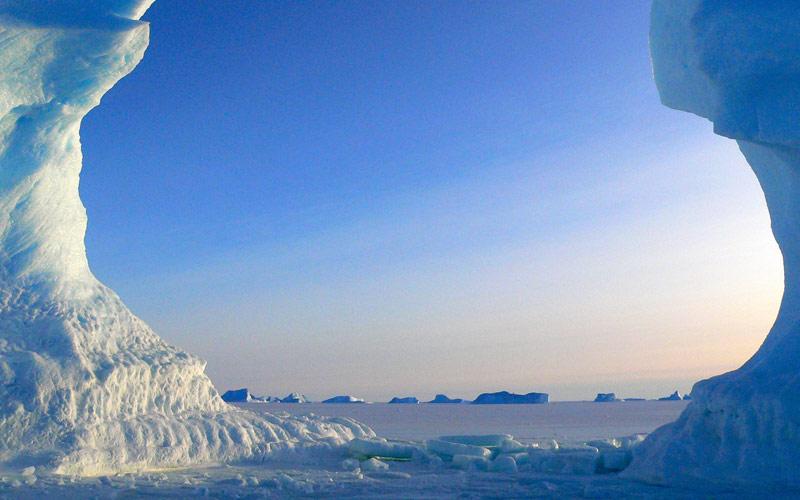 Glaciers Floating in Antarctica
