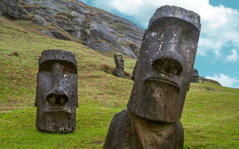 Moai standing in Easter Island, Chile