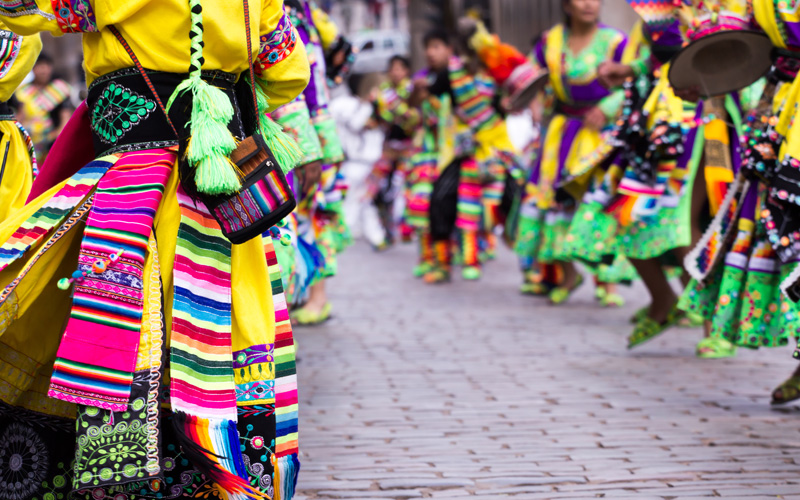 Peruvian dancers at the parade, Cusco