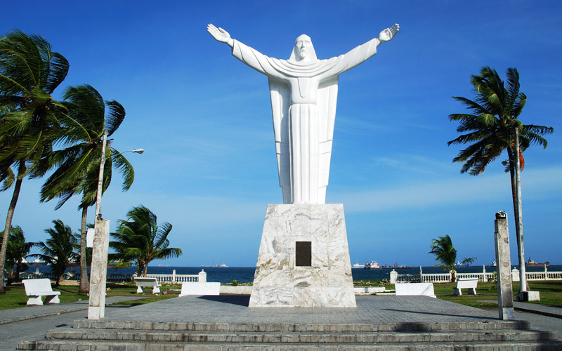 Statue of Christ in Colon City Park Panama