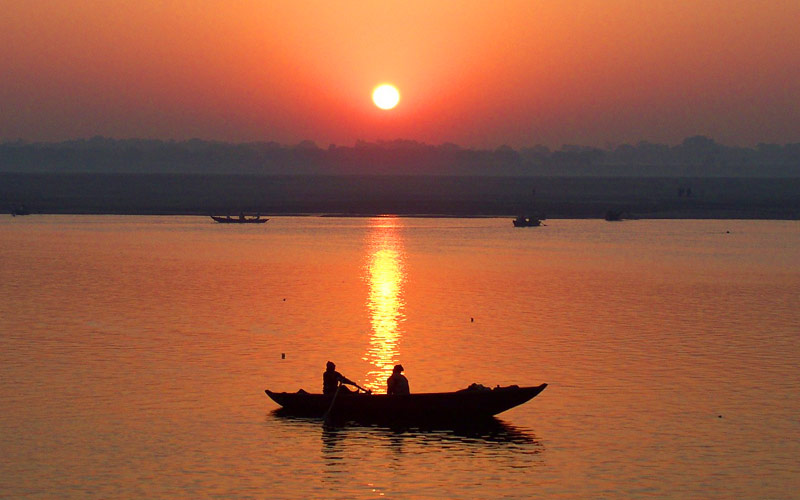 Sunset on the Ganges River in India