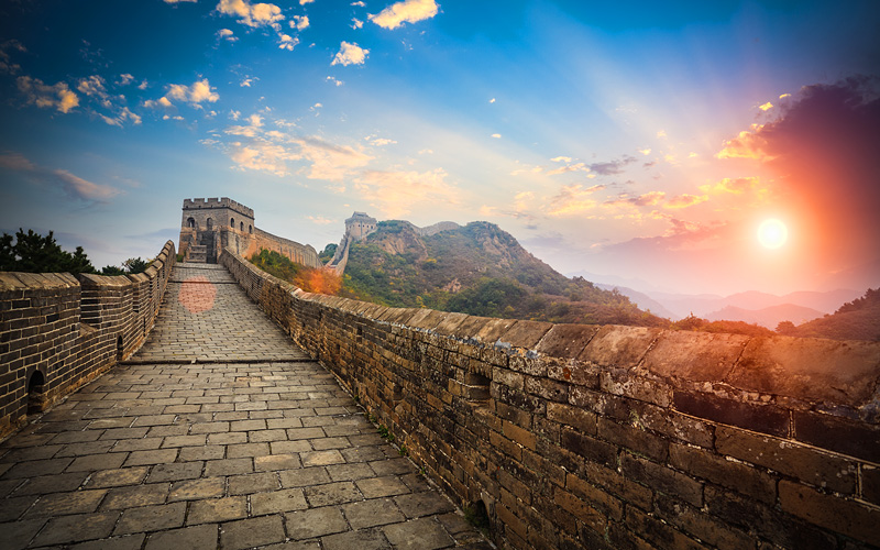 The Great Wall with sunset glow Jinshalin China