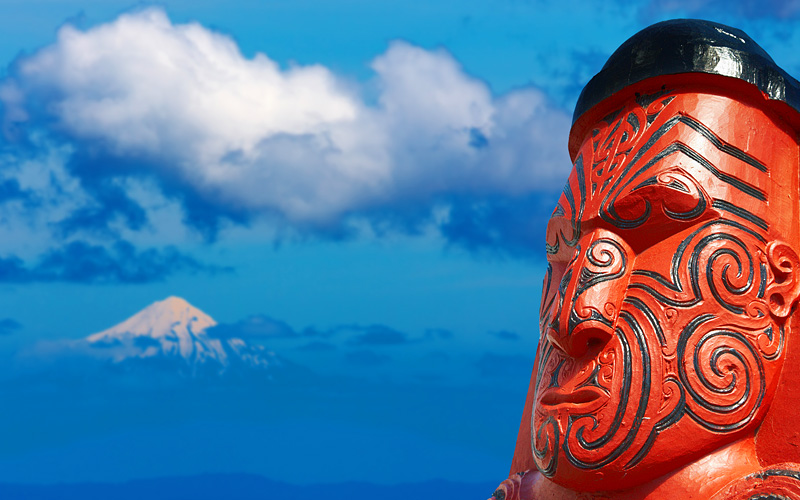Traditional Maori Carving over Taranaki Mount
