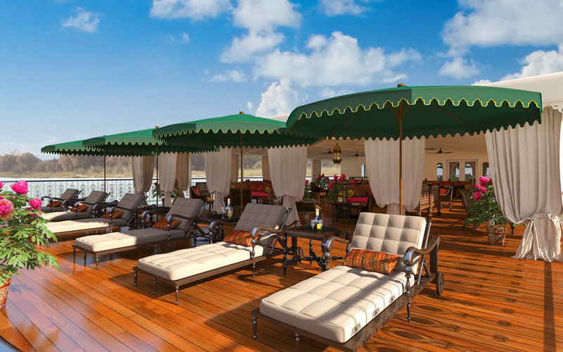 The sun deck on Ganges Voyager II