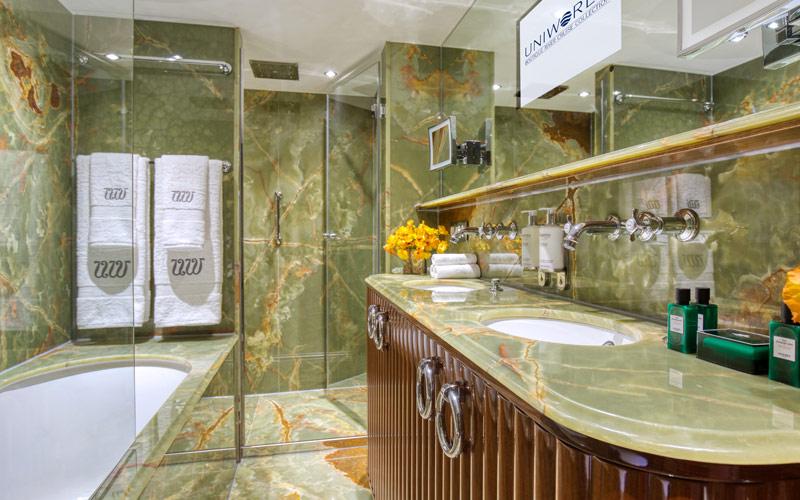 Suite bathroom on S.S. Bon Voyage