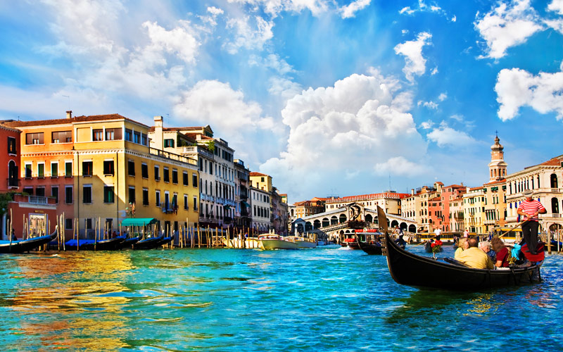 Venice Grand Canal with Gondolas and Rialto Bridge