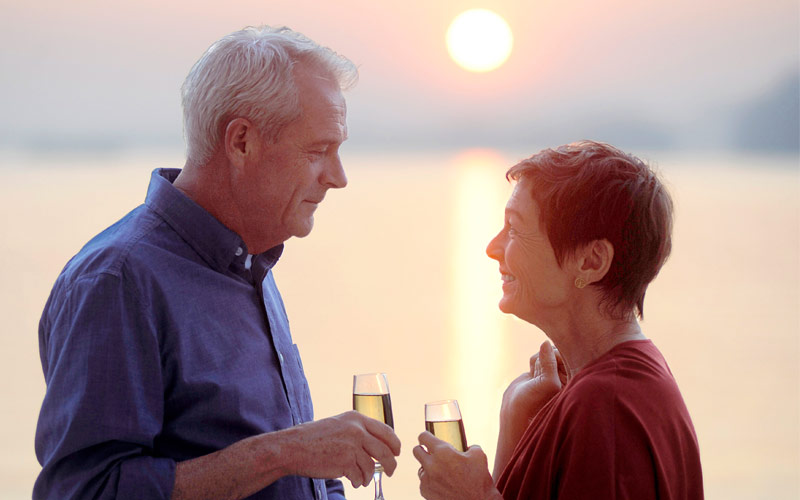 Viking River Cruises Viking Jarl couple sunset