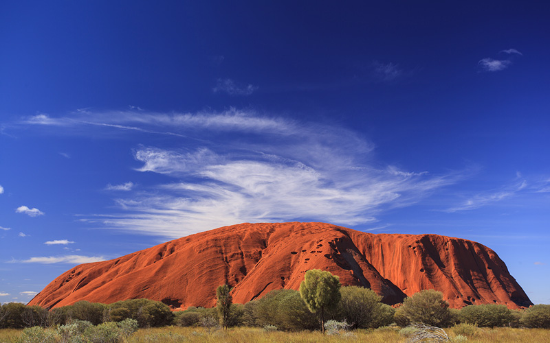 Wide angle view showing uluru in Australia
