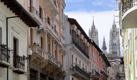 Avalon Waterways house facades and streets in Quito Ecuador
