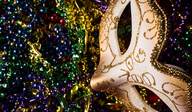Azamara Club Cruises Mardi Gras Mask and beads