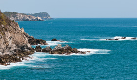 Beautiful beach near Huatulco, Mexico