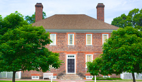 Red brick and architecture of the George Wythe house in Williamsburg