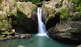 Caribbean rainforest waterfall