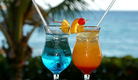 Carnival Cruise Lines colourful cocktails under the palm tree