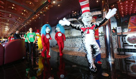 Cat in the Hat and Thing One and Thing Two on Carnival Sunrise